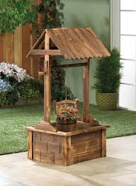 wishing well wooden planter landscape design