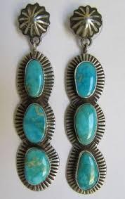 Deal Alert Turquoise Chandelier Earrings Larry Moses Begay Signed Vintage Natural Turquoise U0026 Sterling
