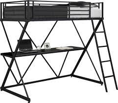 black metal twin loft bed with desk x loft bunk bed dhp furniture
