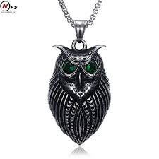 owl jewelry necklace images Nfs vintage green eye owl men necklace 316l stainless steel hip jpg