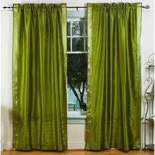 Sari Curtain Handmade 84 Inch Forest Green Ring Top Sheer Sari Curtain Drape