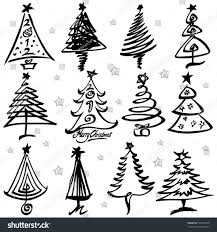 christmas tree illustration black white christmas trees set