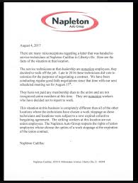 letter of termination of services striking mechanics say dealership left their tools out to rust
