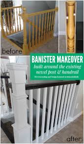 Newel Post To Handrail Fixing Remodelaholic Stair Banister Renovation Using Existing Newel
