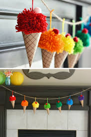 this pom pom ice cream cone garland is the perfect summer