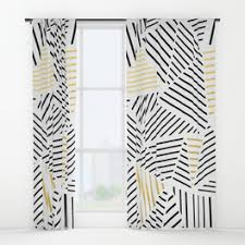 White Gold Curtains Herringbone Window Curtains Society6