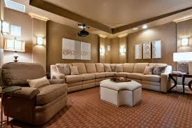 reclining sectional in home theater traditional with three seat