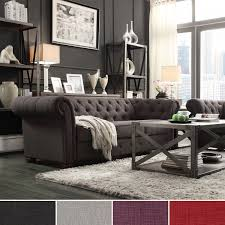 furniture luxury brown leather chesterfield couch for home
