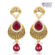 craftsvilla earrings buy craftsvilla delightful gold plated meenari ruby earring