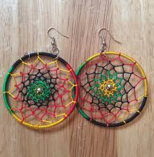 reggae earrings rasta spider web earrings style 2 circle rasta fairies
