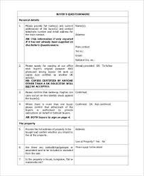 sample buyer questionnaire forms 8 free documents in word