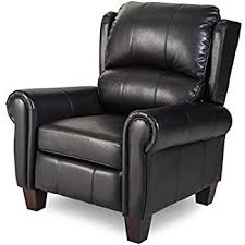Black Leather Recliner Push Back Style Wingback Leather Recliner For Any