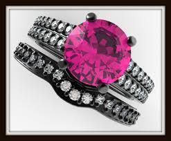 Black And Pink Wedding Rings by Diamond U0026 Pink Sapphire Engagement Ring Wedding Set Vidar