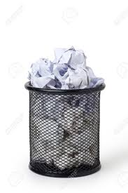 waste paper baskets wastepaper basket full of crumpled paper stock photo picture and