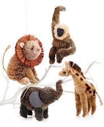 martha stewart set of 4 jungle buri animal ornaments christmas