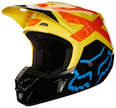 yellow motocross helmet fox racing v2 preme helmet revzilla