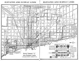Map Chicago 1944 Chicago L Elevated Train Map Chicago Il Us U2022 Mappery