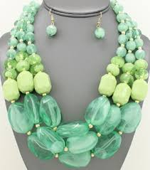 resin beaded necklace images Mint color wholesale jewelry and accessories jpg