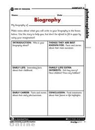 how to write a biography for kids template google search