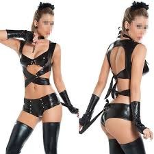 2017 black leather lingerie jumpsuit garter set bodysuit