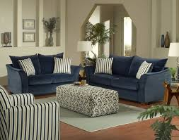 Blue Floor L Furniture Navy Blue Sofa With Striped Cushion Plus Ottoman Coffee