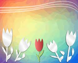 spring rainbow triangle background with tulips cut out of paper