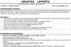 Spanish Interpreter Resume Sample by Interpreter Resume Template Reentrycorps