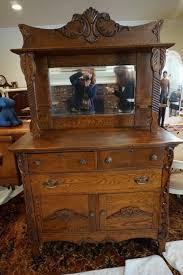 antique oak sideboard vintage american buffet mirror tiger pics 53