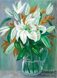 Glass Vase Painting Lilies In A Glass Vase Painting Painting By Veronica Rickard