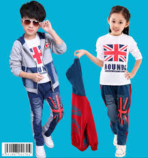 2015 autumn baby boys girls clothing sets gray cotton casual