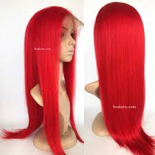 brazilian virgin silk straight red color 360 frontal lace wig