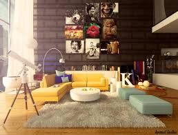 interior colorful home decor ideas for living room with black