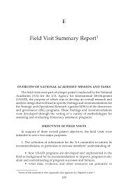 field report template appendix e field visit summary report improving democracy
