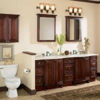 Cream Bathroom Vanity by Small Bathroom Decoration Using Solid Light Oak Wood Bathroom