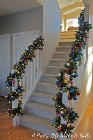 Banister Christmas Garland The Stockings Were Hung