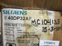 siemens 40dp32a motor starter furnas size 1 3ph 3 pole contactor