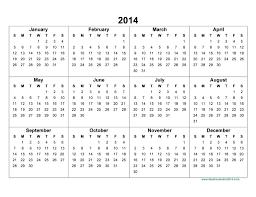 Printable Calendar Yearly 2014 | full 2014 year calendar template ora exacta co