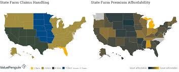 map shows where state farm has the best claims satisfaction in the us
