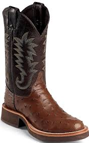 justin 5031 antique brown full quill ostrich crepe sole 11 inch boot