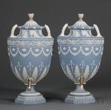 Wedgwood Vase Patterns Pair Of Wedgwood Solid Blue Jasper Tea Urns And Covers