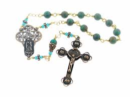 our of guadalupe rosary our of guadalupe handmade wire wrapped sky blue jasper pocket