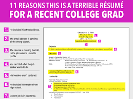 college graduate resume terrible resume for a recent college grad business insider