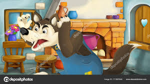 cuisine dessin animé scène dessin animé avec méchant loup dans cuisine illustration