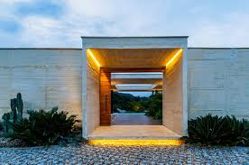 sliding wooden entrance door lighting house in villeta colombia