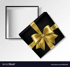 black and gold ribbon black gift box with gold ribbon and bow top view