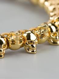 bracelet gold skull images Lyst alexander mcqueen skull friendship bracelet in metallic jpeg
