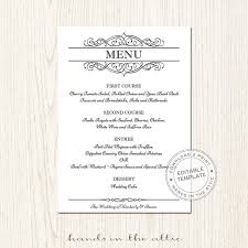 editable menu template wedding menu template editable wedding menu card
