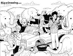 safari jeep drawing surrounded by elephants while drinking tea cartoon drawing