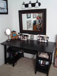 bedroom black wooden make desk with single drawer decor with