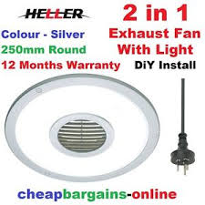 heller exhaust fan with light 250mm round silver bathroom laundry